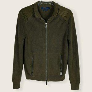 Polo Ralph Lauren Zip Up Sweater Green Cotton